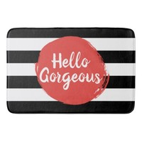 Red Paint Hello Gorgeous Black and White Striped Bath Mats