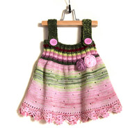 Knitted Girl Dress - Pink and Green, 1 - 2 years