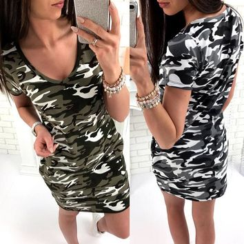 Summer Simple Design V-neck Camouflage One Piece Dress [10495231245]