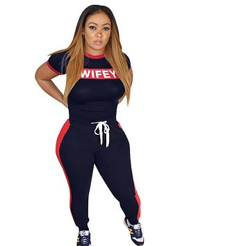 Summer Casual Two Pieces Set Women Track Suit Sport Short Sleeve Letter Print Red Stripe Long Pants Woman Sets Clothes Plus Size
