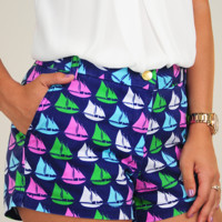 Sail In the Wind Shorts: Navy/Multi