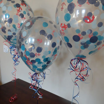 """HUGE! 16"""" Nautical Theme Confetti Balloons : Wedding, Shower, Birthday, Baby, 1st Birthday, Pool, Picnic, Back to School, Party Decorations"""
