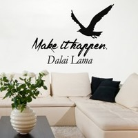 Wall Decals Vinyl Decal Sticker Bedroom Decor Dalai Lama Quote Make It Happen Sea Gull Bird Words Kg895