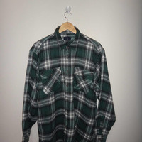 Uniqlo Flannel Plaid Wool 1990s Hip Hop Long Sleeve Shirt Vintage 90s RNB Musician Snoop Dogg Tupac Rayon Style Shirt Rappers Casual Men