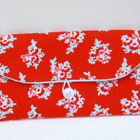 Handmade Fabric Clutches, Red Flower Print Bridesmaid Clutch Purse - Red Blue - Bride Gift - Makeup Bag - Clutch With Button-  Gift for Her