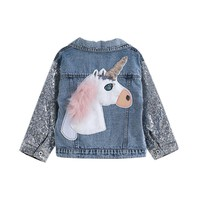 Unicorn Glitters Jean Jacket For Toddler Girl