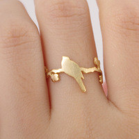 BIRD MINIMAL RING 18K GOLD | Paper Kranes