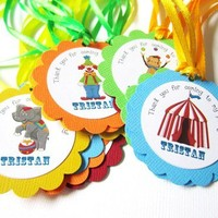 Personalized Circus Carnival Favor Tags or Thank You Label Party