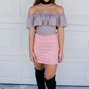 Charleston Glamour Dusty Pink Faux Suede Mini Skirt