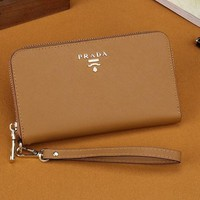 THE PRADA Zipper bag Women Leather Purse Wallet H-MYJSY-BB
