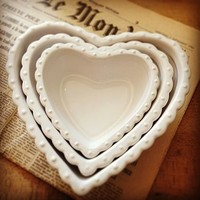 Set Of Three Heart Dishes