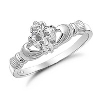 Sterling Silver Irish Claddagh Friendship Ring with Clear Cz