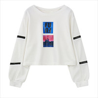 White Sleeve Zipper Sweatshirt
