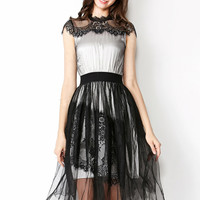 Black Sheer Mesh Lace Embroidered  Cap Sleeve  Dress