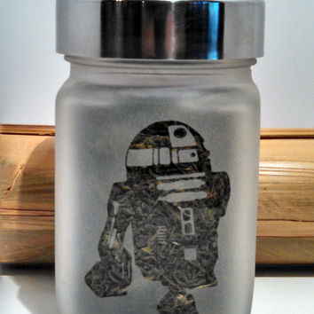 R2D2 Etched Glass Stash Jar - Star Wars Inspired- Free UPGRADE to Priority Shipping within the US
