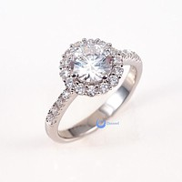 1.25 Round Cut Solitaire w/Accent Engagement Ring Rhodium over Silver w/CZ