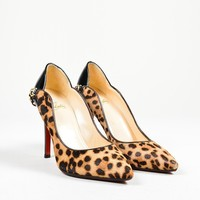 DCCK2 Tan Christian Louboutin Pony Hair Patent Leopard Dorepi Pumps