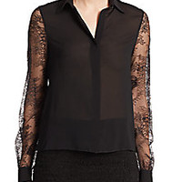 Alice + Olivia - Willa Lace-Sleeve Silk Blouse - Saks Fifth Avenue Mobile