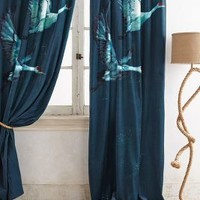 Avian Flight Curtain by Anthropologie Green 84 Inches Curtains