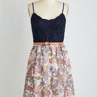 Sleeveless A-line Debut Dance-Off Dress in Paisley