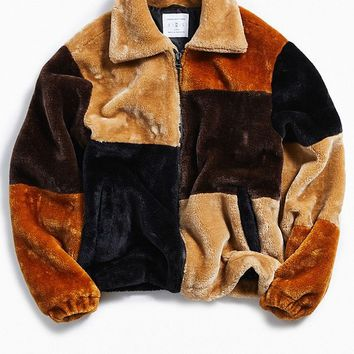 UO Patchwork Faux Fur Jacket | Urban Outfitters