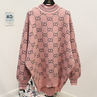 Gucci Fashion Trending Print Long Sleeve Pullover Medium length Sweater Pink G