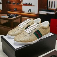 GUCCI 2018 spring and autumn new hot stamping rivet casual wild shoes Gold