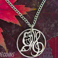 Butterfly Treble Clef quarter cut coin necklace