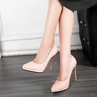 Patent Leather Pointed Toe Platform Pumps High Heel Shoes 1198