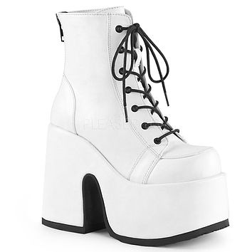Camel 203 White Matte Lace Up Goth Platform Ankle Boot