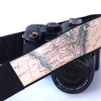 Camera Strap. World Map Camera Strap. Padded Camera Strap. Camera Accessories.  DSLR Camera Strap. Pocket. Gift Photographer. Etsy Gifts