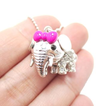 Adorable Baby Elephant With A Bow Shaped Pendant Necklace in Silver   DOTOLY