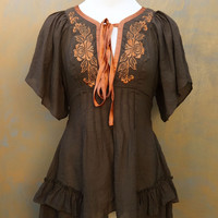 Flutter and Swing Embroidered Neckline Tunic Top