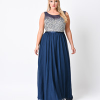 Plus Size Navy Blue Crystal Beaded Sleeveless Chiffon Long Dress 2016 Prom Dresses