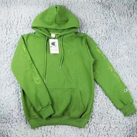 Champion New fashion bust embroidery logo and sleeve embroidery letter hooded long sleeve top sweater Green