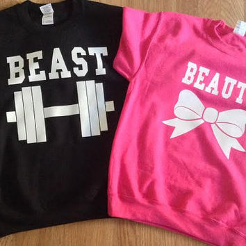 Free//Fast Shipping for US Beauty with Bow and  Beast with Dumbbell Couple Sweatshirts :Black and Pink(White Decal)