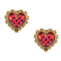 POLKA DOT HEART STUD EARRINGS - Betsey Johnson