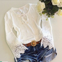 Lace Sexy Long Long Sleeve Round Necked Erotic Shirt Blouse Top Casual Party Playsuit Clubwear Bodycon Boho Top Shrit T-Shirt _ 4448