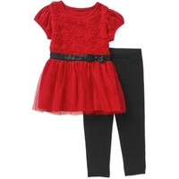 Healthtex Toddler Girl Tulle Skirted Dress w/ Legging 2 Pc set - Walmart.com