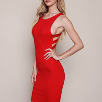 RED STRAPPY CUT OUT BODYCON DRESS