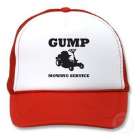 Gump Mowing Service Trucker Hats from Zazzle.com