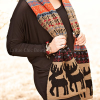 ALL I NEED FAIR ISLE KNIT SCARF IN TAUPE