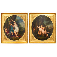 Pair of Mid 18th Century Italian Neoclassical Oil on Canvas Paintings by Giovanni Battista Cipriani