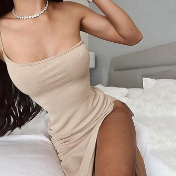 Side Split Dress Women Sexy Sleeveless Solid Knitted Ankle-Length Party Dress Slim Elastics Off Shoulder Dress Cotton