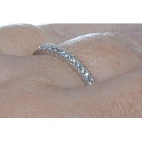 Elegant Sterling Silver Cubic Zirconia Eternity Ring 3mm Wide Band