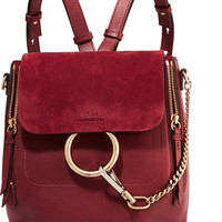 Chloé - Faye small leather and suede backpack