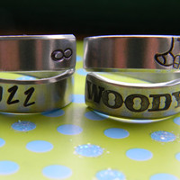 Woody and buzz best friends two swirl rings to share toy story inspired 3/8 inch wide