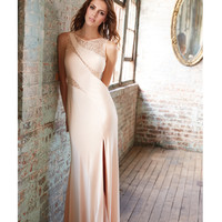 Champagne Jersey & Lace Gown