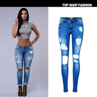 2017 New Blue Hole Ripped Jeans Woman Plus Size Stretchy Low Waist Skinny Jeans Women Pencil Denim Pants Jeans Femme Mujer