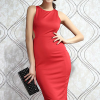 Red Sleeveless Hollow-out Knee Length Midi Dress